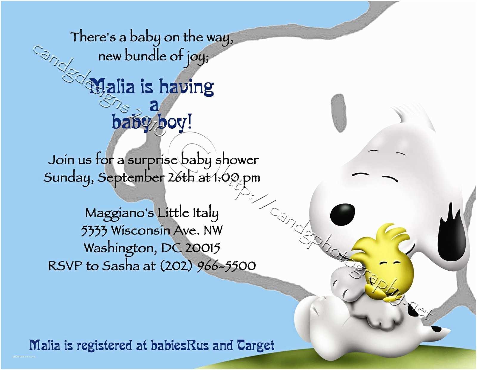 Snoopy Baby Shower Invitations C&g Graphy C&g Designs