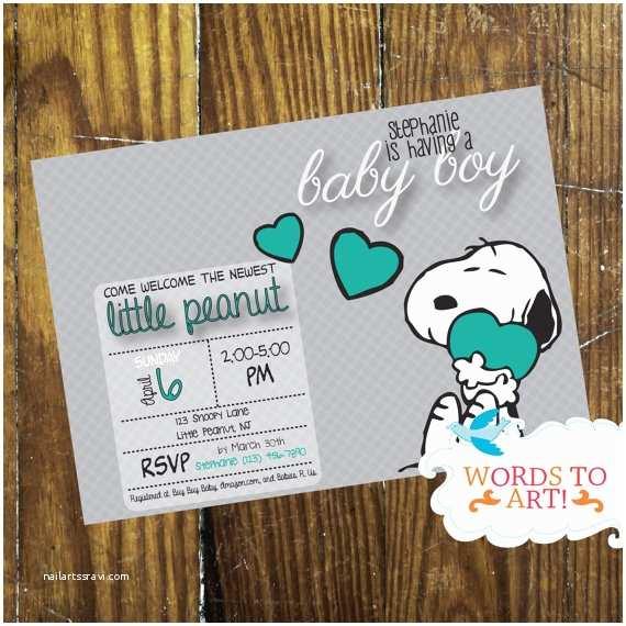 Snoopy Baby Shower Invitations Custom Snoopy Baby Shower Invitations Boy or Girl Pick