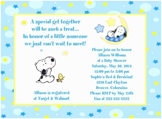 Snoopy Baby Shower Invitations Find Supplies for Snoopy Baby Shower Decorations