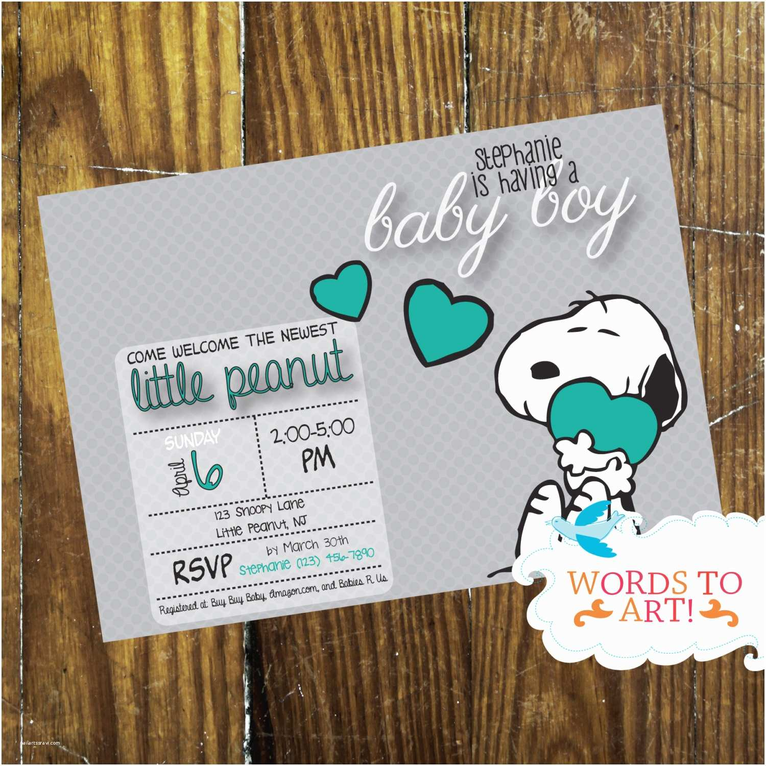 Snoopy Baby Shower Invitations Printable Diy Custom Snoopy Baby Shower Invitations Boy