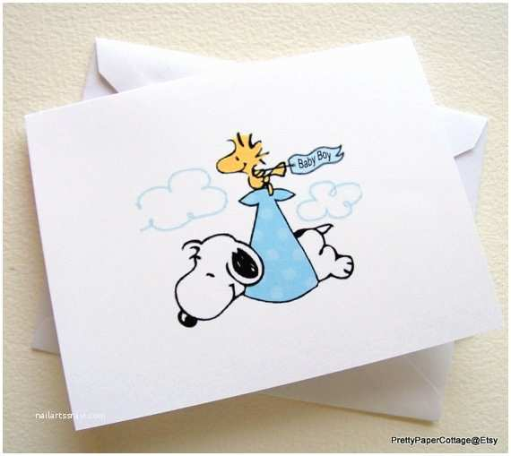 snoopy baby boy note cards invitations
