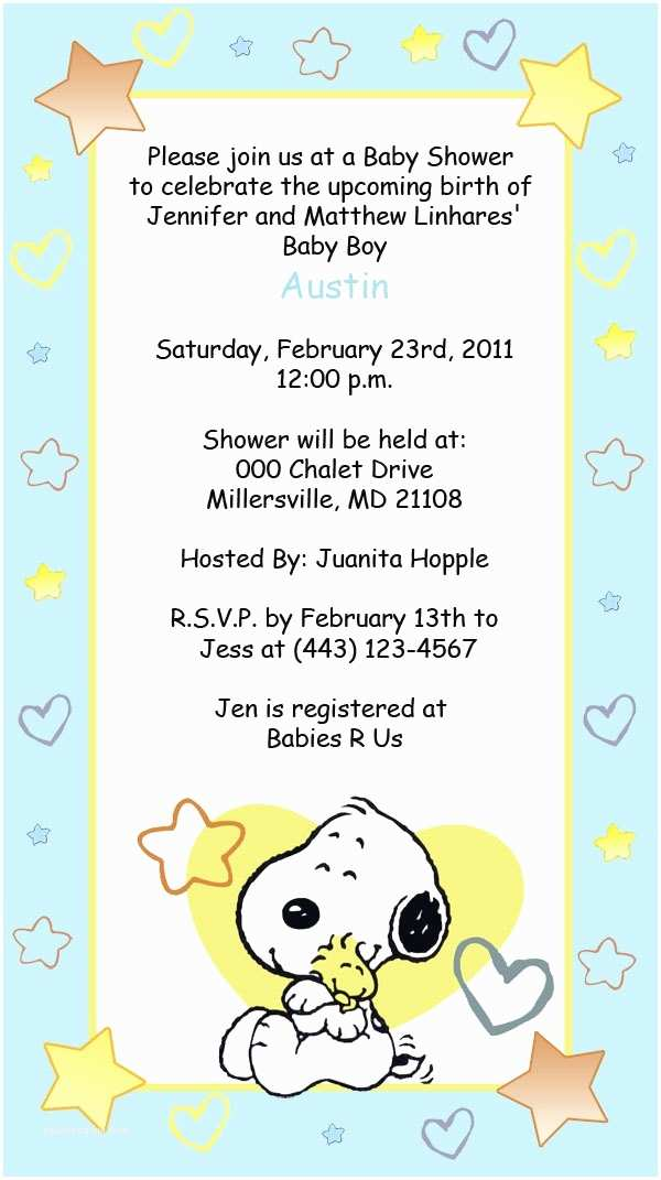 Snoopy Baby Shower Invitations Snoopy Baby Shower Invitations Party Xyz