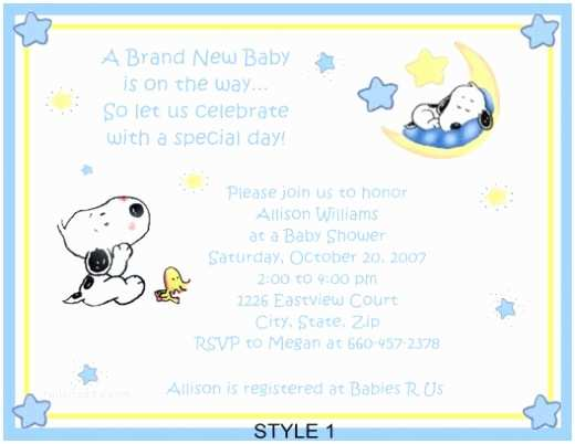 Snoopy Baby Shower Invitations Snoopy Baby Shower theme