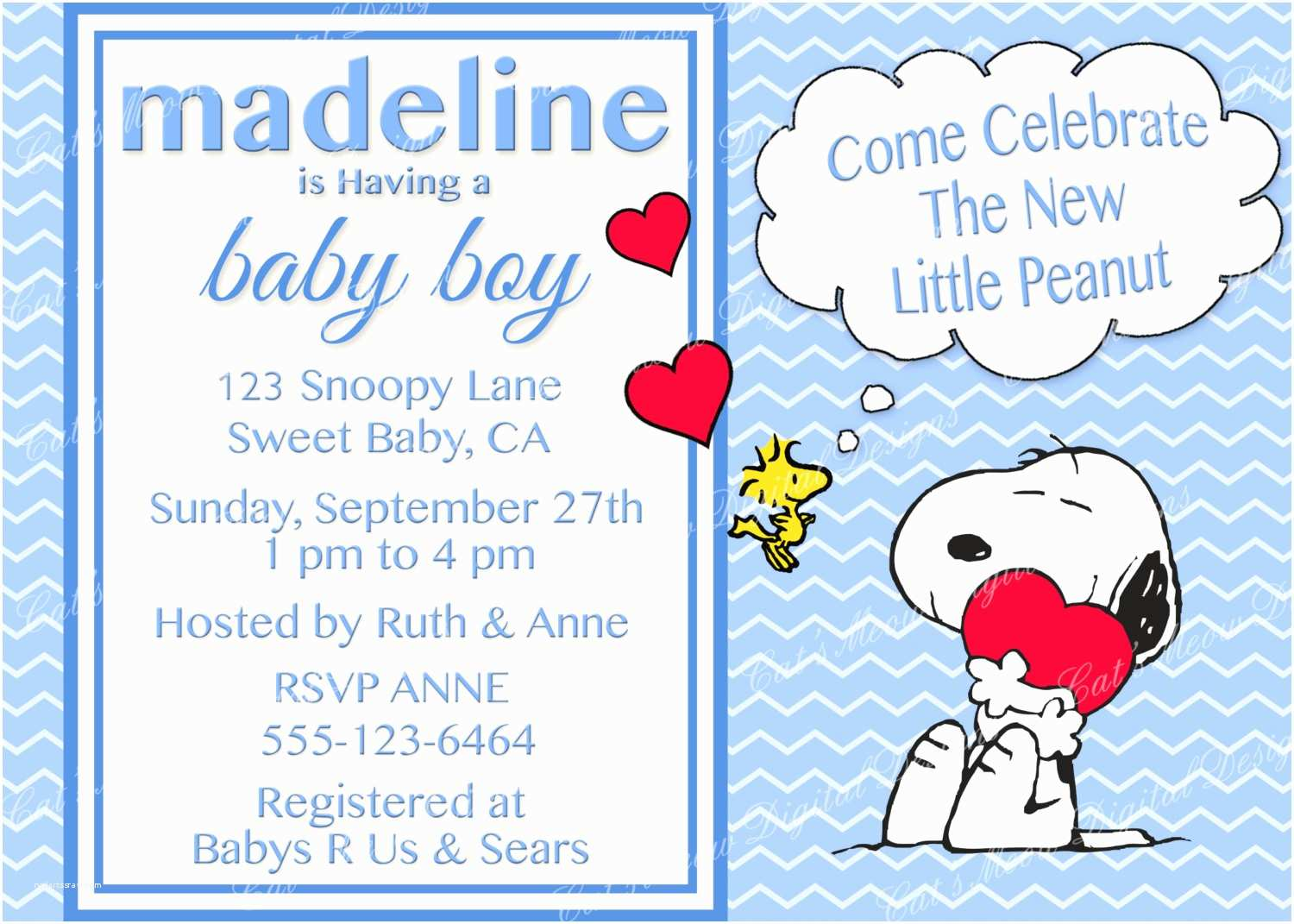 Snoopy Baby Shower Invitations Snoopy Peanuts Baby Shower Invitation Digital Printable Baby