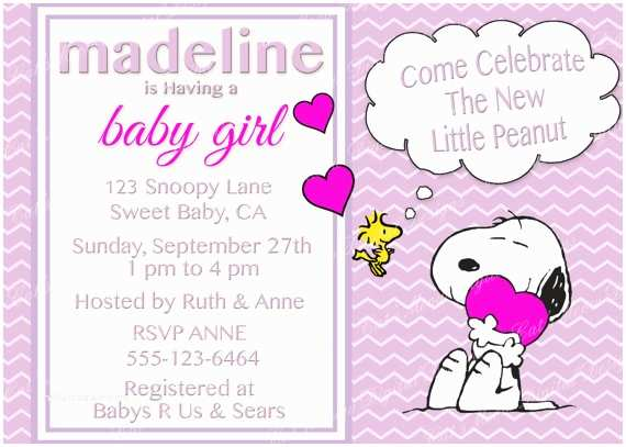 Snoopy Baby Shower Invitations Snoopy Peanuts Baby Shower Invitation Digital Printable