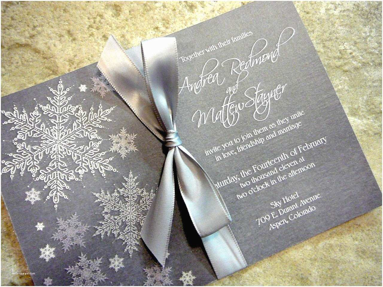 Snowflake Wedding Invitations Cool and Frosty Silver Snowflake Winter Wedding Invitation Set