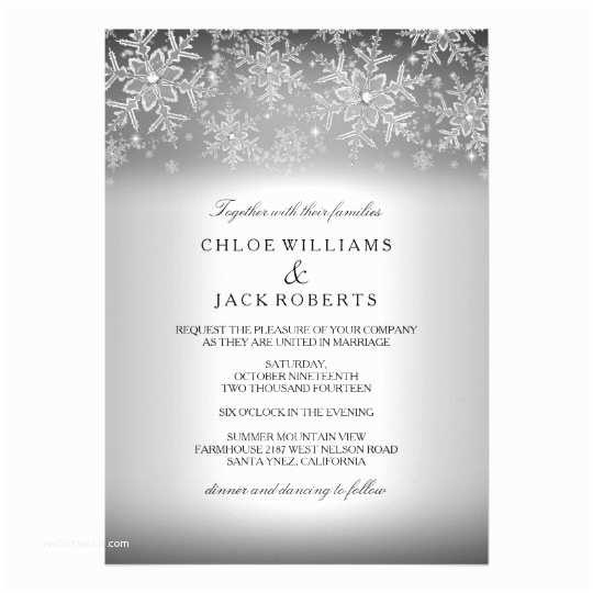 Snowflake Wedding Invitations Crystal Snowflake Silver Winter Wedding Invitation