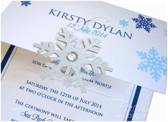 Snowflake Wedding Invitations Royal Blue & Turquoise Snowflake themed Wedding Invitation