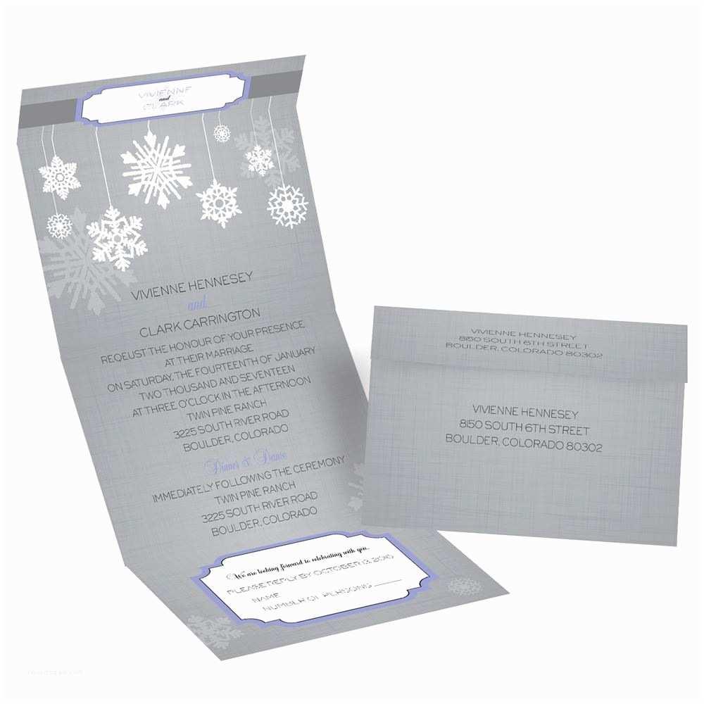 Snowflake Wedding Invitations Snowflake Pendents Seal and Send Invitation