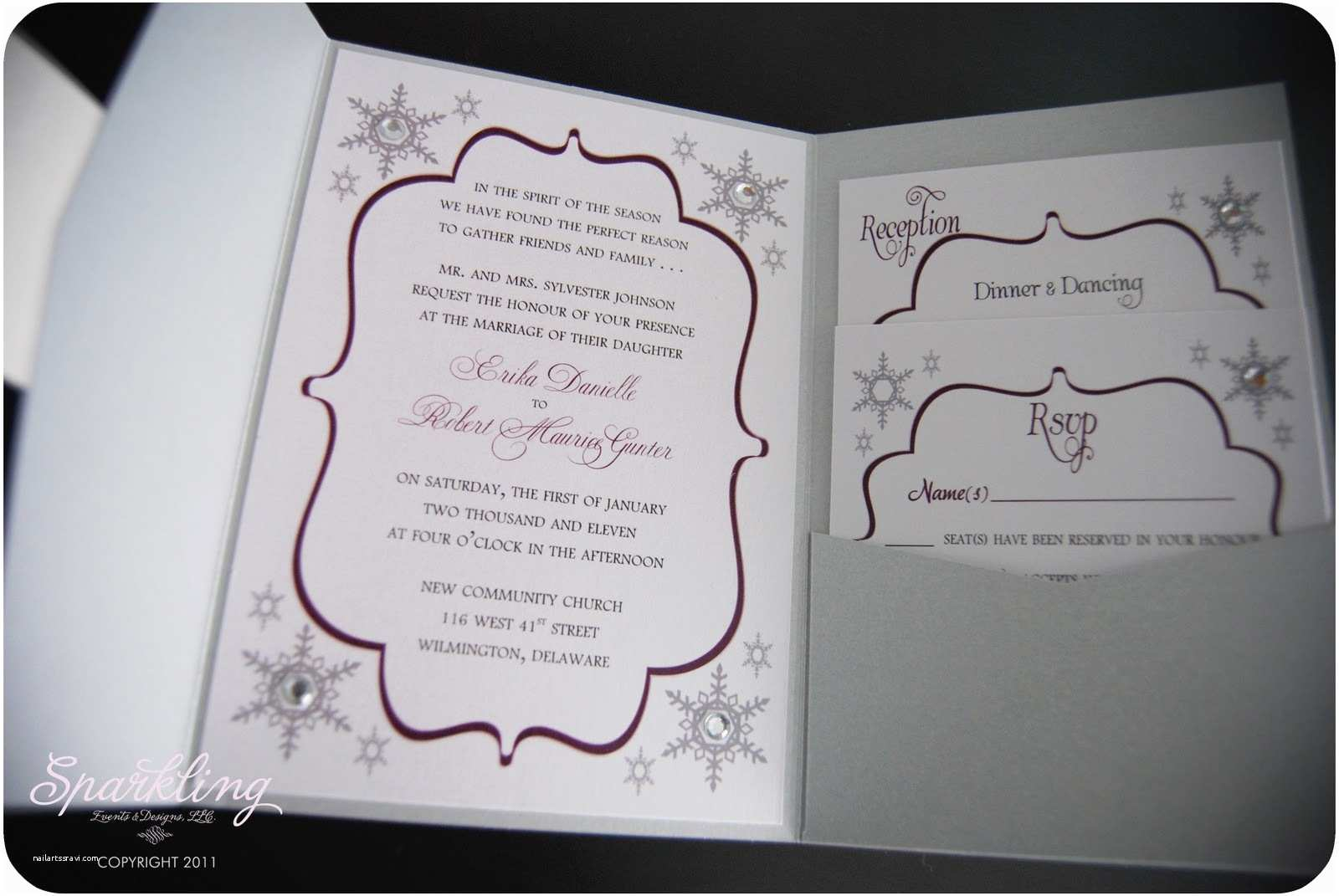 Snowflake Wedding Invitations Sparkling events & Designs Real Invitations Winter