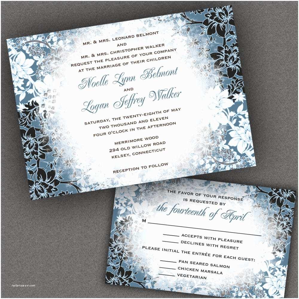 Snowflake Wedding Invitations Winter Wedding Invitation Suite with evening Frost Border