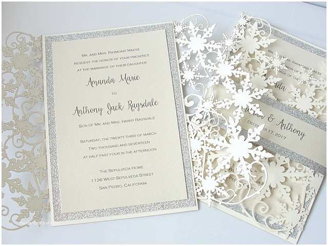 Snowflake Wedding Invitations Winter Wonderland Wedding Invitation Snowflake Wedding Invite