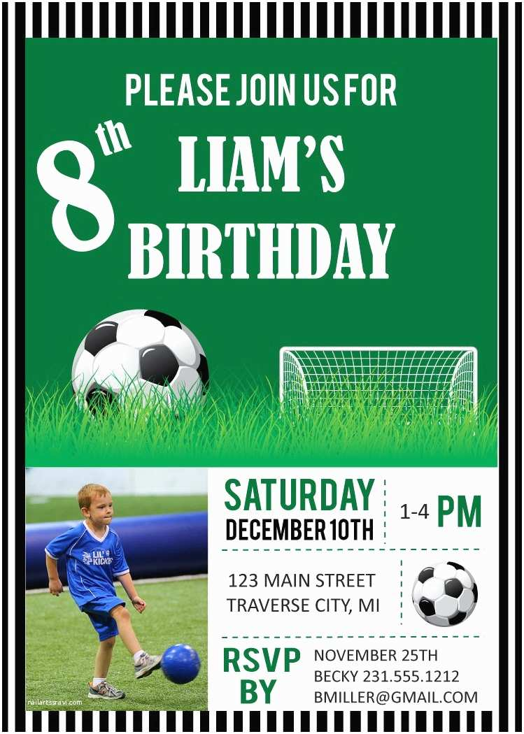 Soccer Birthday Invitations soccer Birthday Party Invitations Digital File Diy