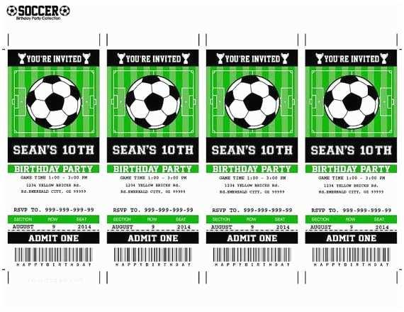 Soccer Birthday Invitations soccer Birthday Ticket Invitation Party Printable