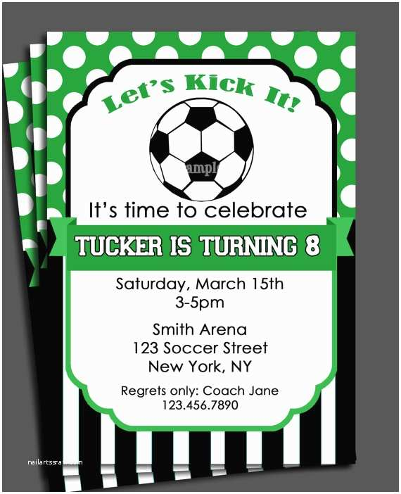 Soccer Birthday Invitations soccer Invitation Printable or Printed with Free Shipping