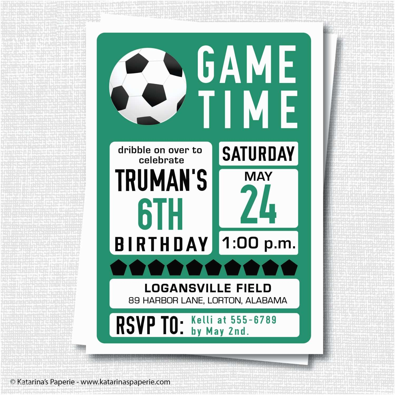 Soccer Party Invitations Custom Birthday Invitation Themed Boy