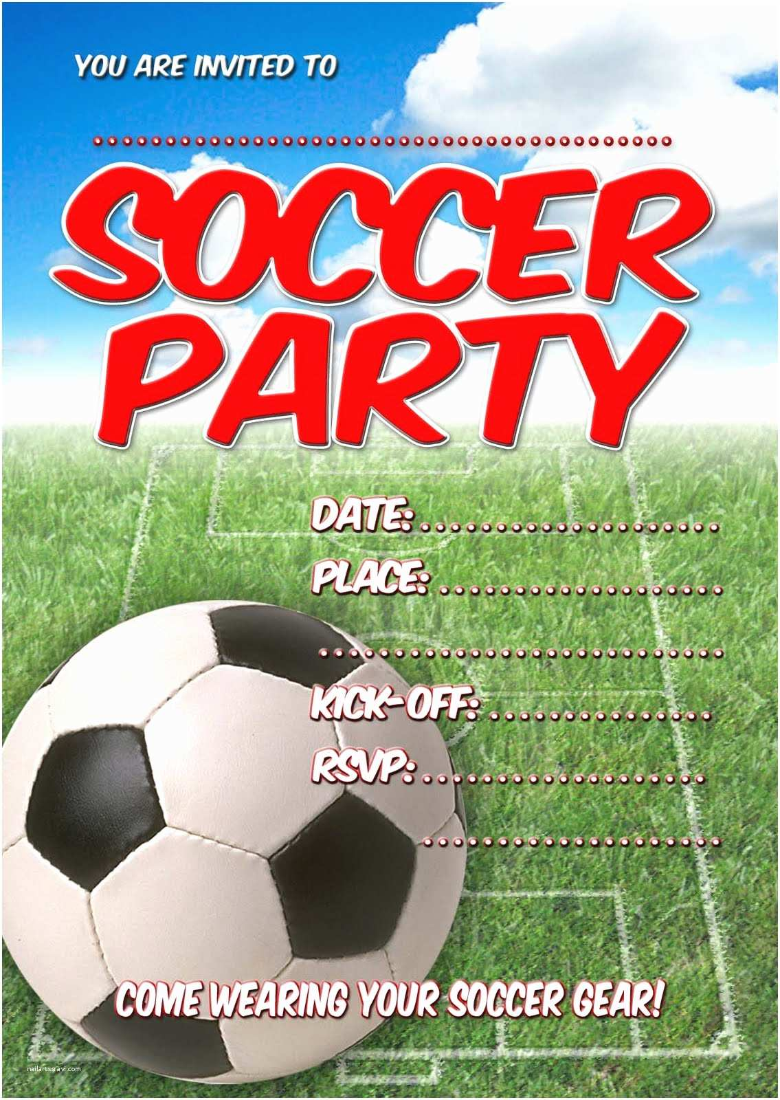 Soccer Party Invitations Free Kids Party Invitations soccer Party Invitation