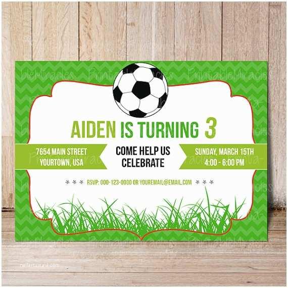 Soccer Party Invitations Printable soccer Birthday Invitation & Thank You Label soccer