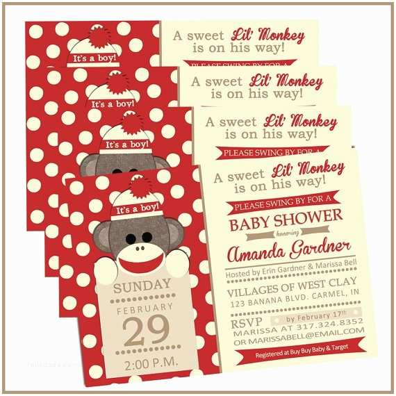 Sock Monkey Baby Shower Invitations 128 Best Images About Ami Baby Shower On Pinterest