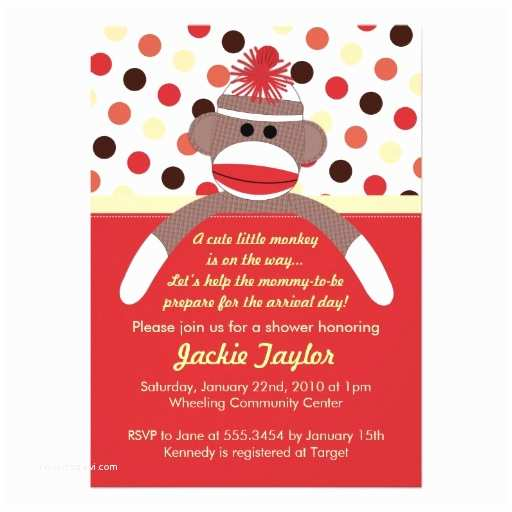 "Sock Monkey Baby Shower Invitations Cute Little sock Monkey Baby Shower Invitation 5"" X 7"