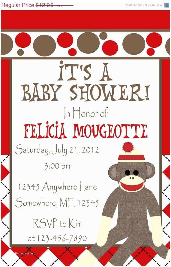 Sock Monkey Baby Shower Invitations Size