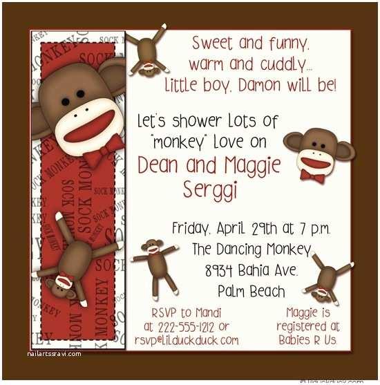 Sock Monkey Baby Shower Invitations sock Monkey Baby Shower Invitation Cuddly Funny