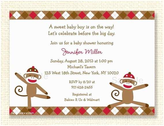 Sock Monkey Baby Shower Invitations sock Monkey Baby Shower Invitation Printable by Little