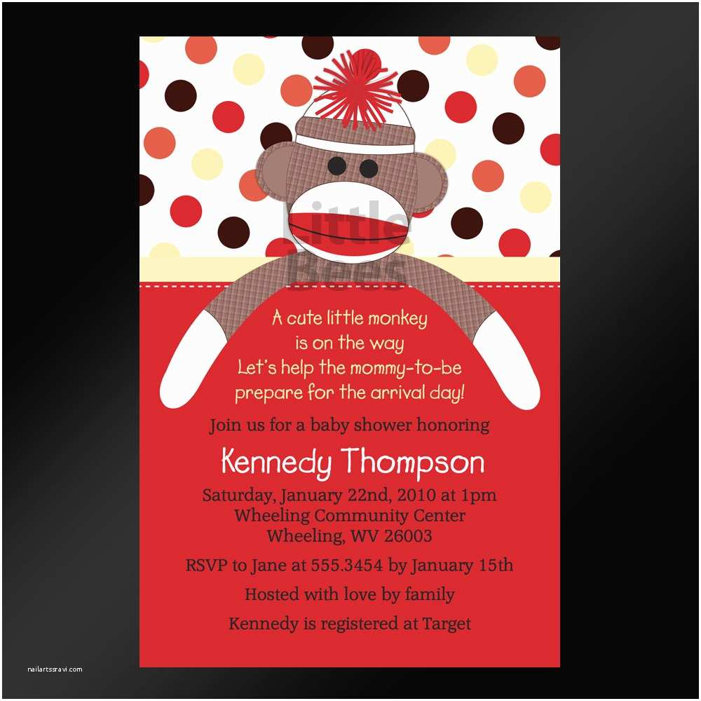 Sock Monkey Baby Shower Invitations sock Monkey Printable Baby Shower Invitation Printable