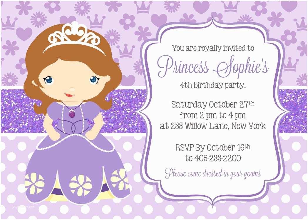 Sofia the First Birthday Invitations Princess sofia Invitation Princess Party Invitation sofia