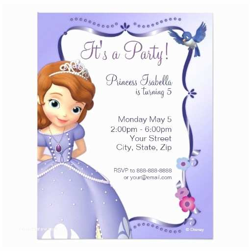 Sofia the First Birthday Invitations sofia the First Birthday Invitation Card