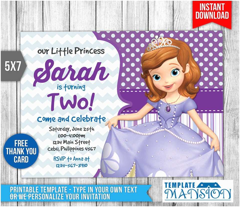 Sofia The First Birthday Invitations Invitation Invite Template Psd By