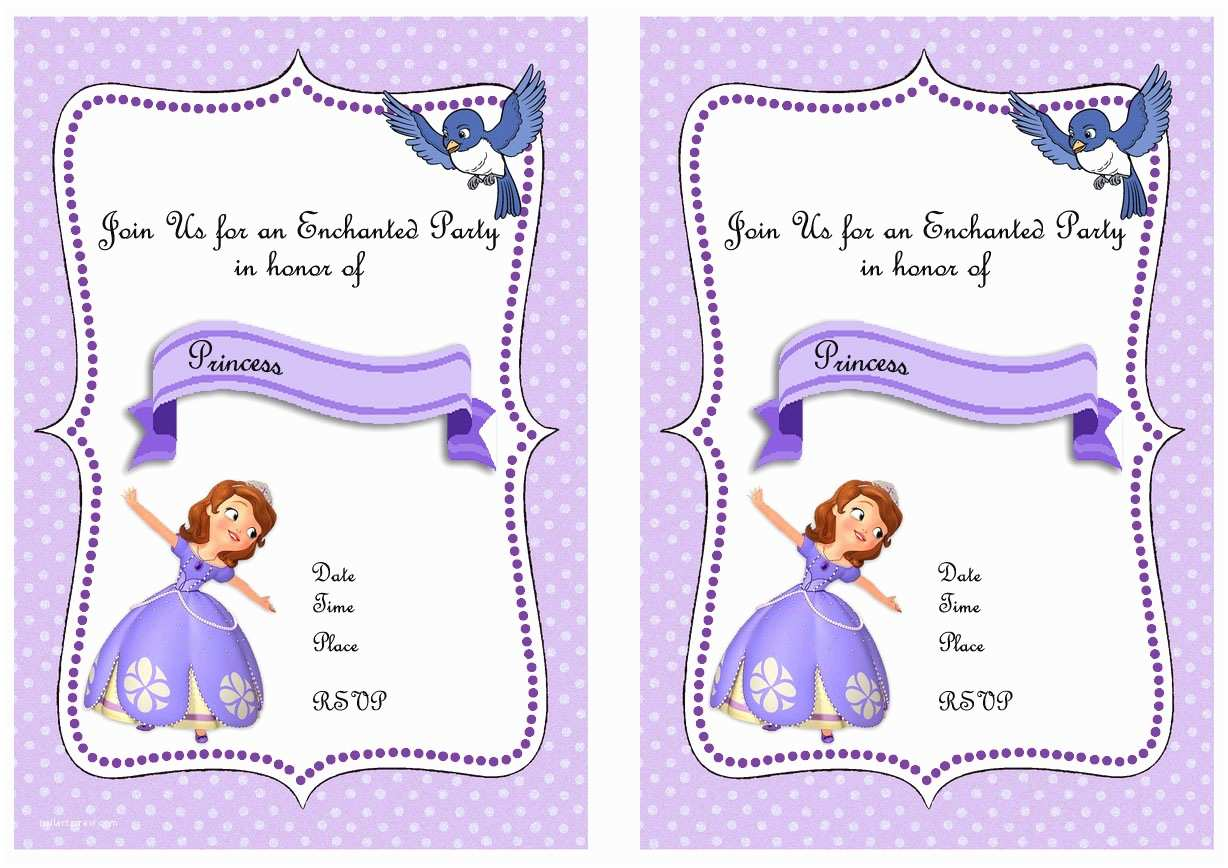 Sofia the First Birthday Invitations sofia the First Party Invitations – Gangcraft