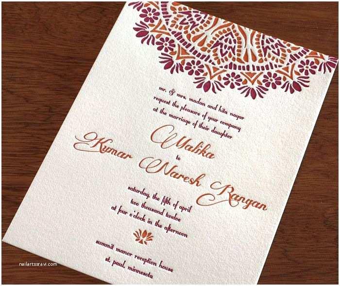 South asian Wedding Invitations Malika Indian Letterpress Wedding Invitation by
