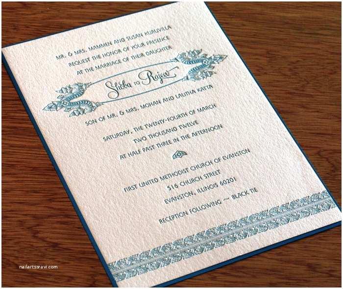 South asian Wedding Invitations south asian Royal Letterpress Wedding Card Shoba