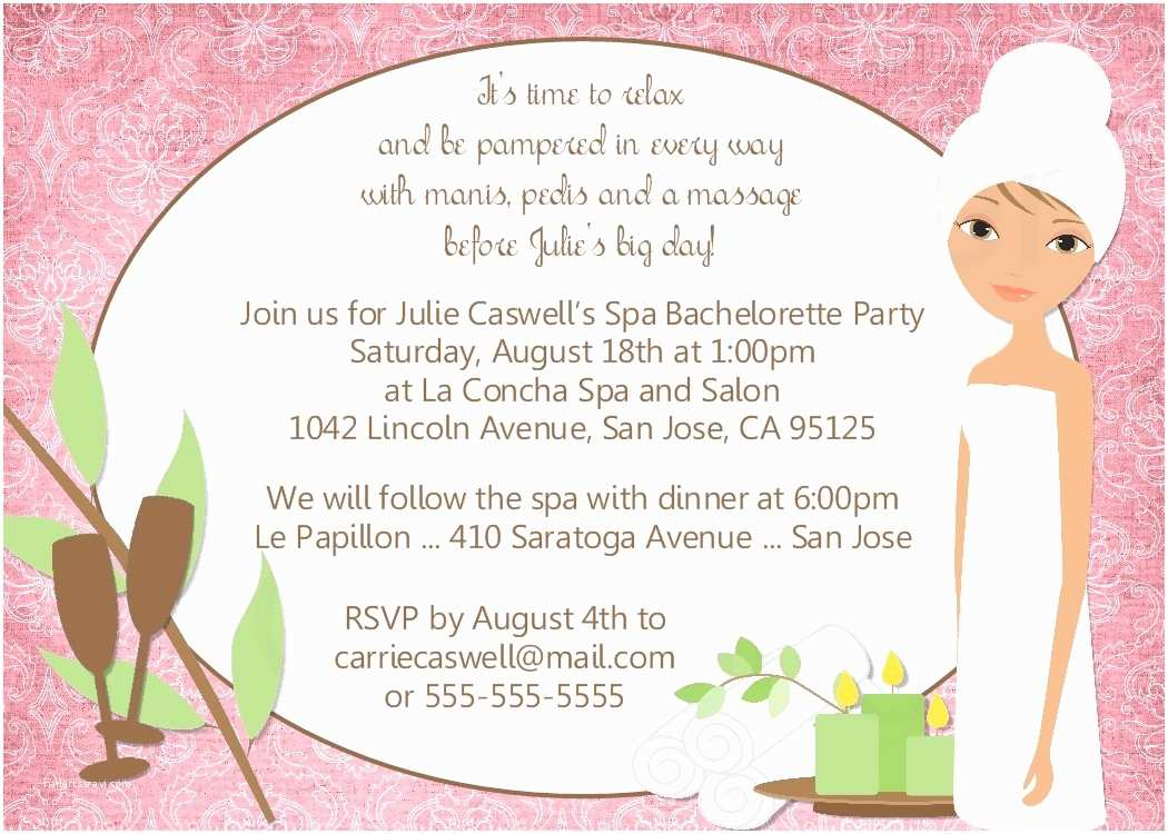Spa Birthday Party Invitations Bear River Greetings Spa Party Invitation