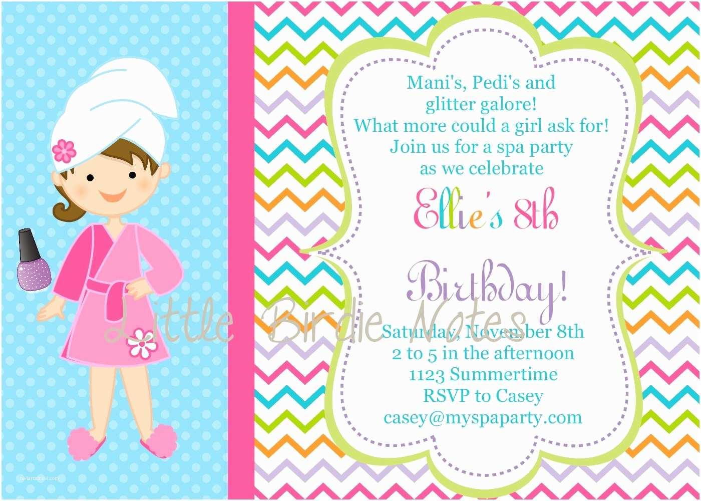 Spa Birthday Party Invitations Girls Spa Birthday Party Invitations