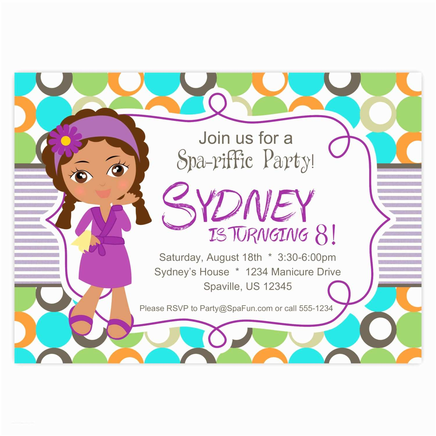 Spa Birthday Party Invitations Spa Party Invitation Lime Turquoise and orange Polka Dots