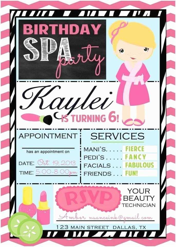 Spa Birthday Party Invitations Spa Party Invitations Free Printable