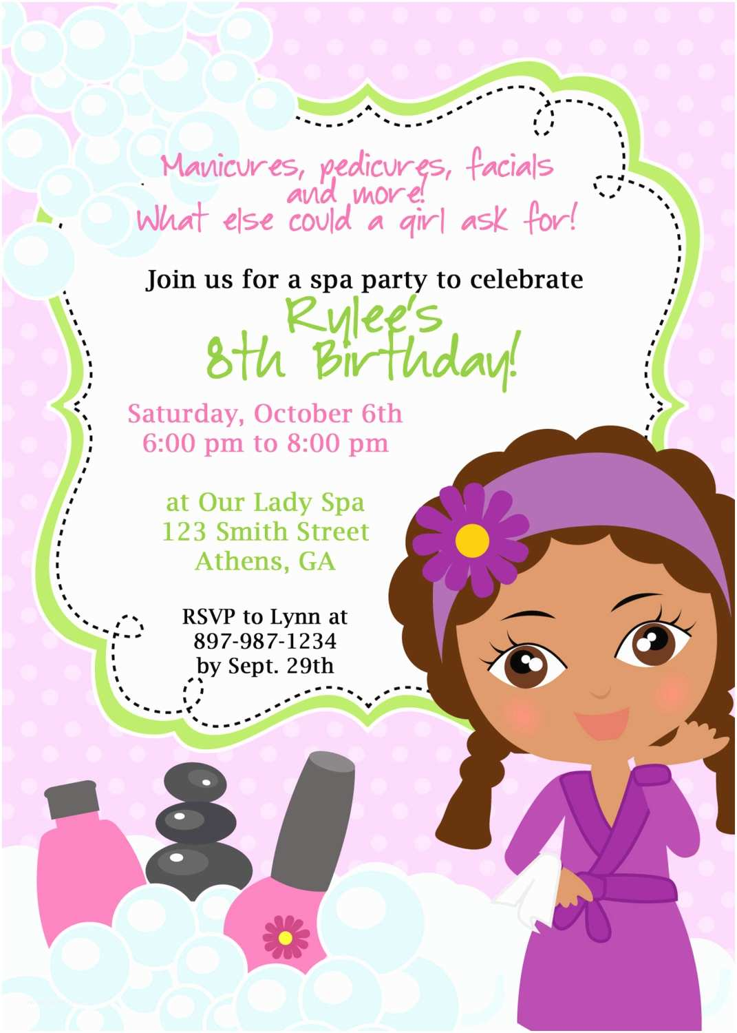 Spa Party Invitations Diy Sassy Spa Party Invitation African American Little Girl