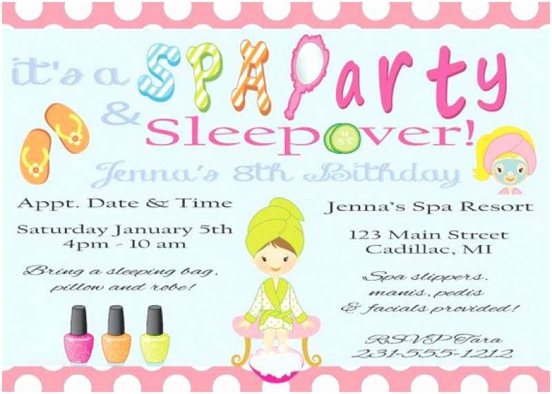 Spa Party Invitations Free Printable Sleepover Spa Invitation – orderecigsjuicefo