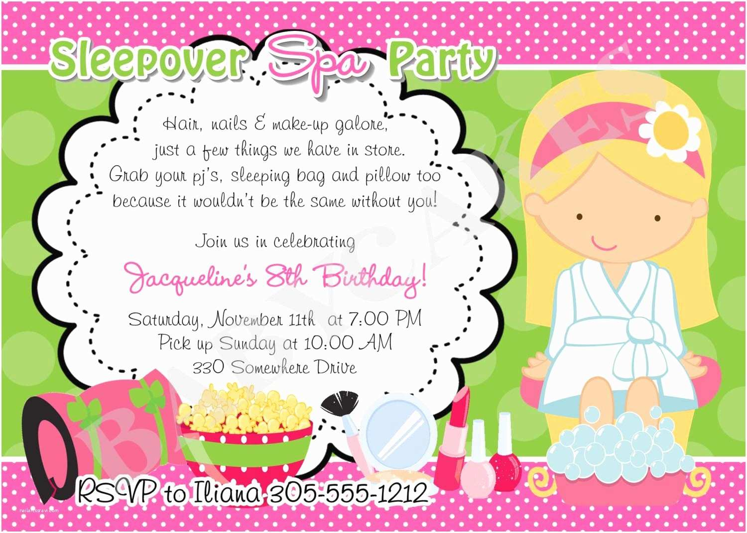 Spa Party Invitations Girl Spa Party Invitations