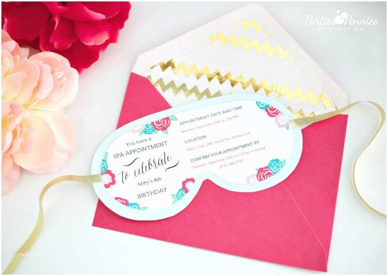 Spa Party Invitations Girls Birthday Party Idea Spa Party Parties for Pennies