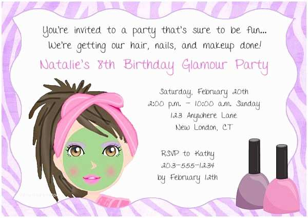 Spa Party Invitations Girls Spa Party Invitation Wording