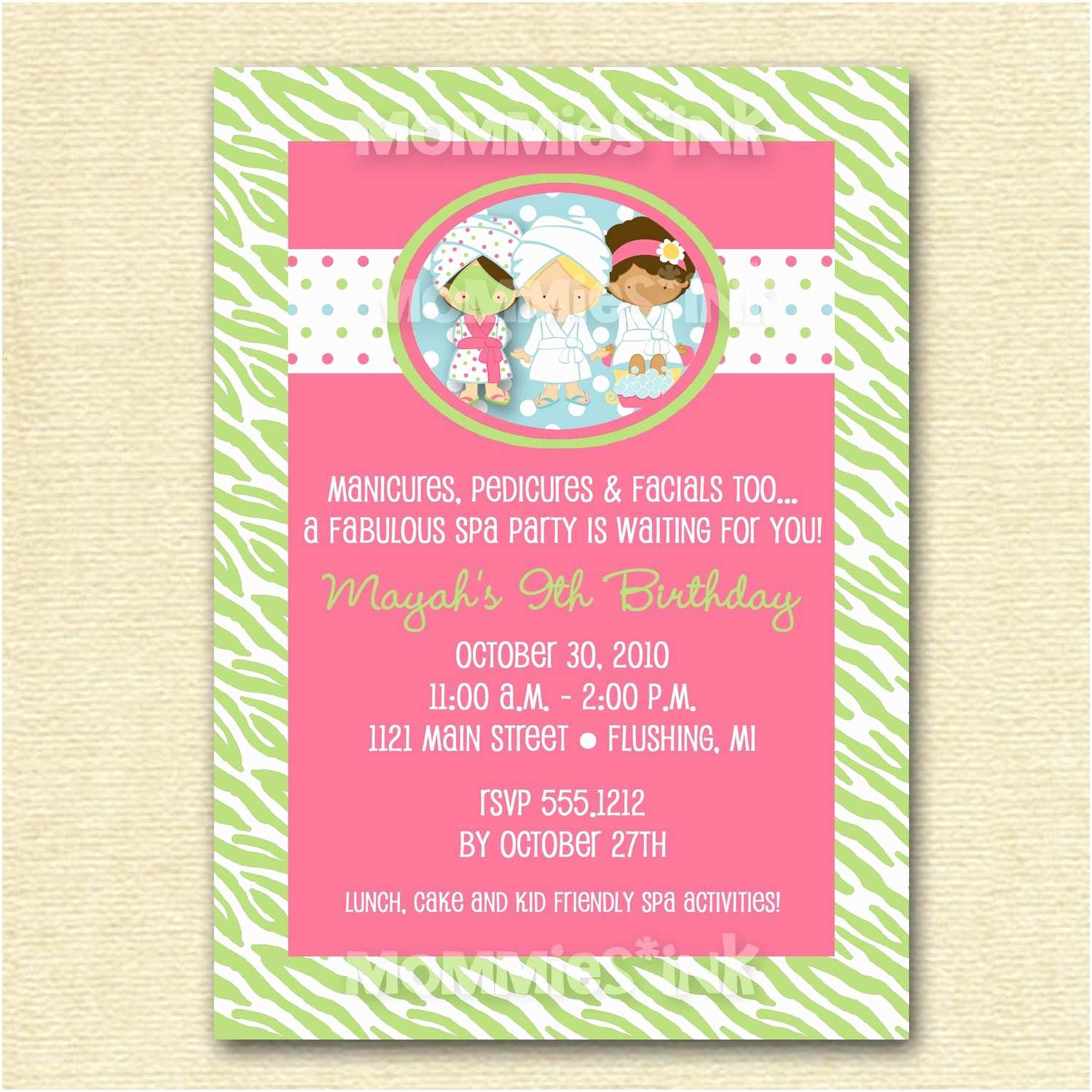 Spa Party Invitations Modern Spa Party Birthday Invite Printable Invitation Design