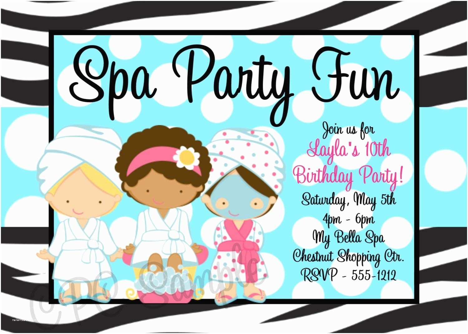 Spa Party Invitations Printable Spa Party Invitations