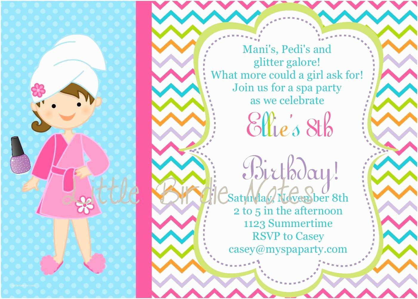 Spa Party Invitations Spa Birthday Party Invitations