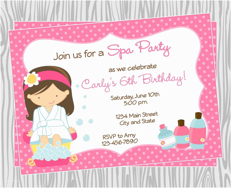 Spa Party Invitations Spa Birthday Party Invitations