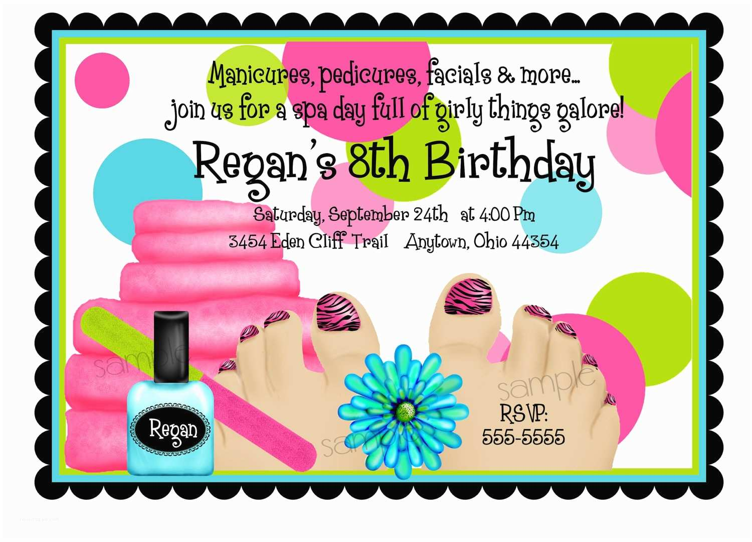Spa Party Invitations Spa Birthday Party Invitations Spa Party Spa