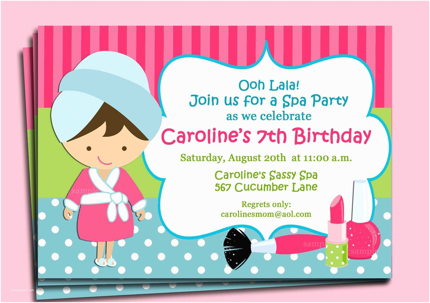 Spa Party Invitations Spa Invitation Printable or Printed with Free Shipping You