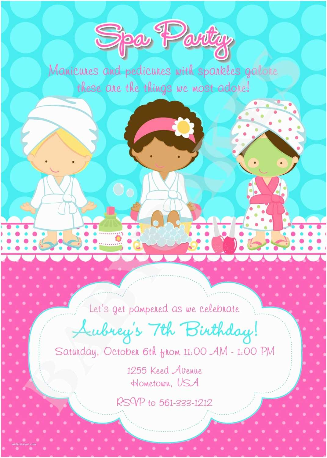 Spa Party Invitations Spa Party Invitation Diy Print Your Own Matching by